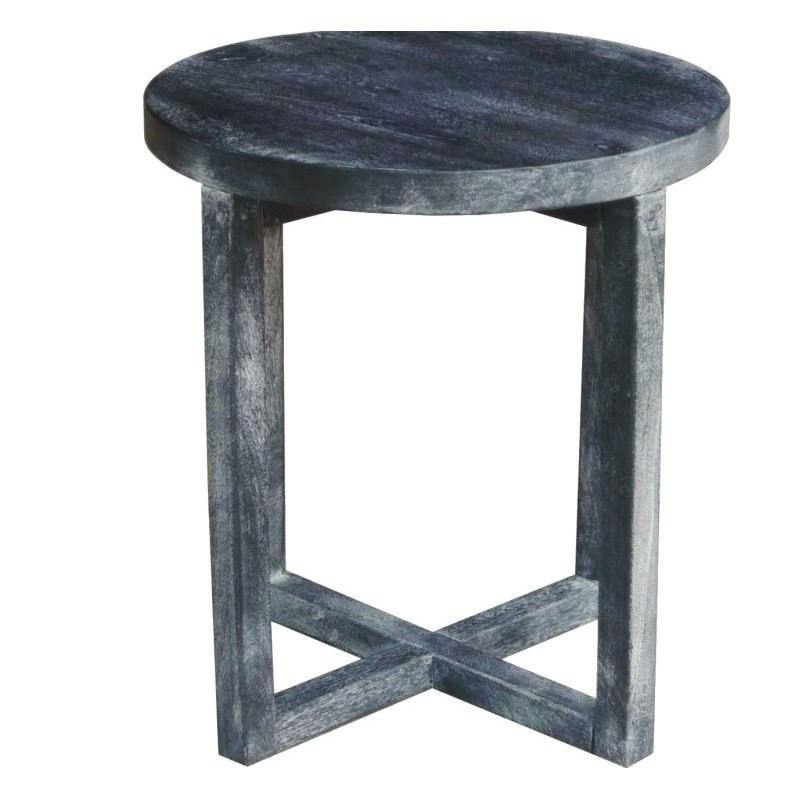 Osaka Round Side Table in Chikori Wash Mango Wood