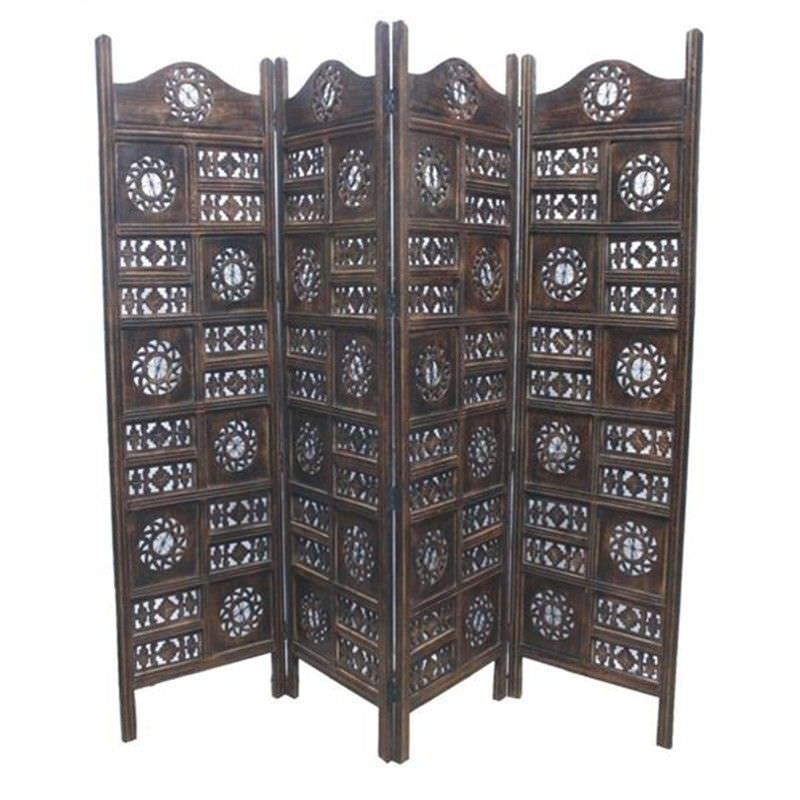 Jali Burnt Mango Wood Circle Screen - 180x200cm