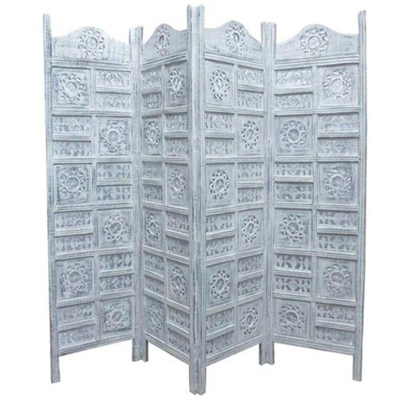 Arawata Mango Wood Quad Fold Screen, Antique White