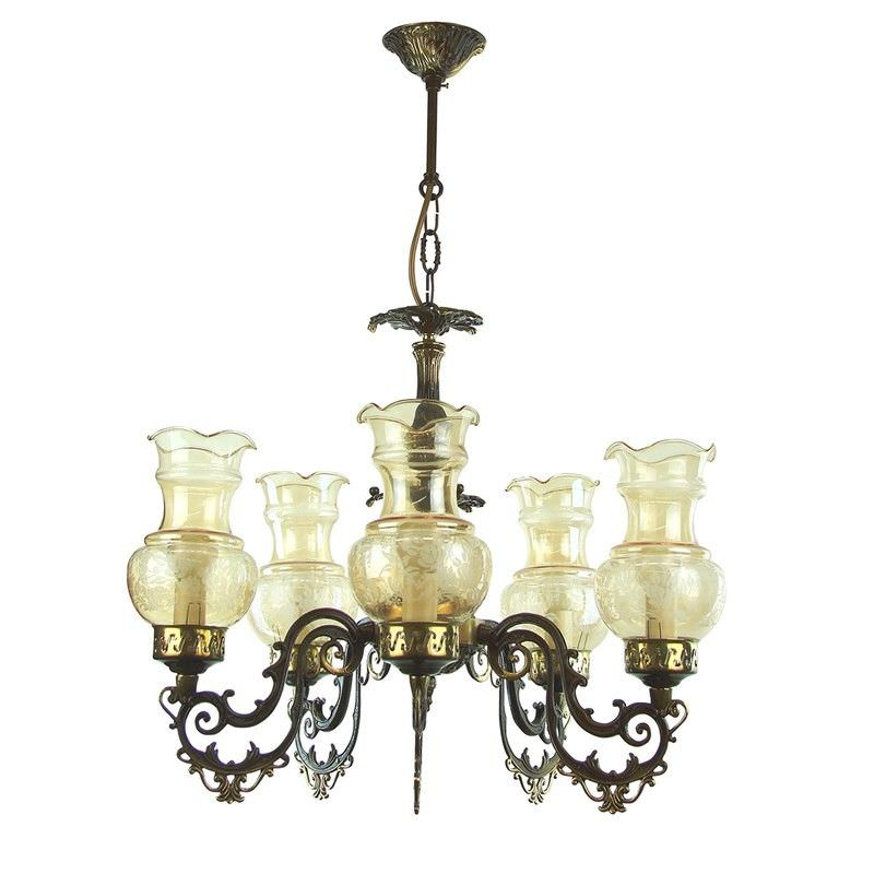 Kolo European Floral Amber Glass 5 Light Chandeliers