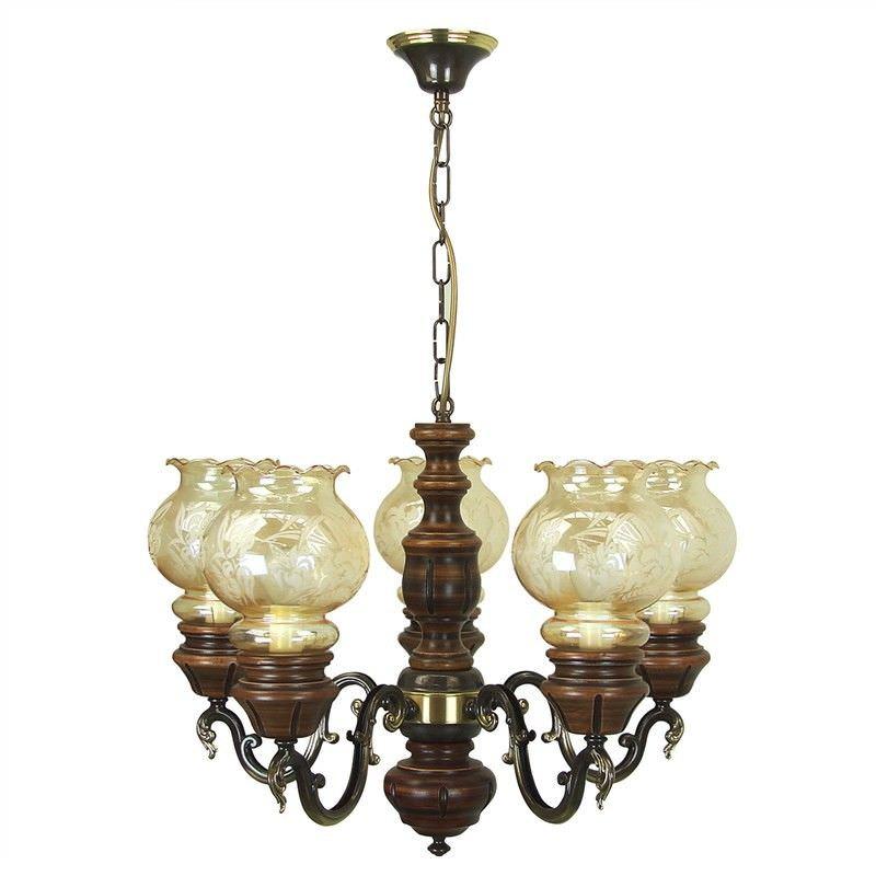 Olsztyn European Floral Amber Glass 5 Light Chandeliers