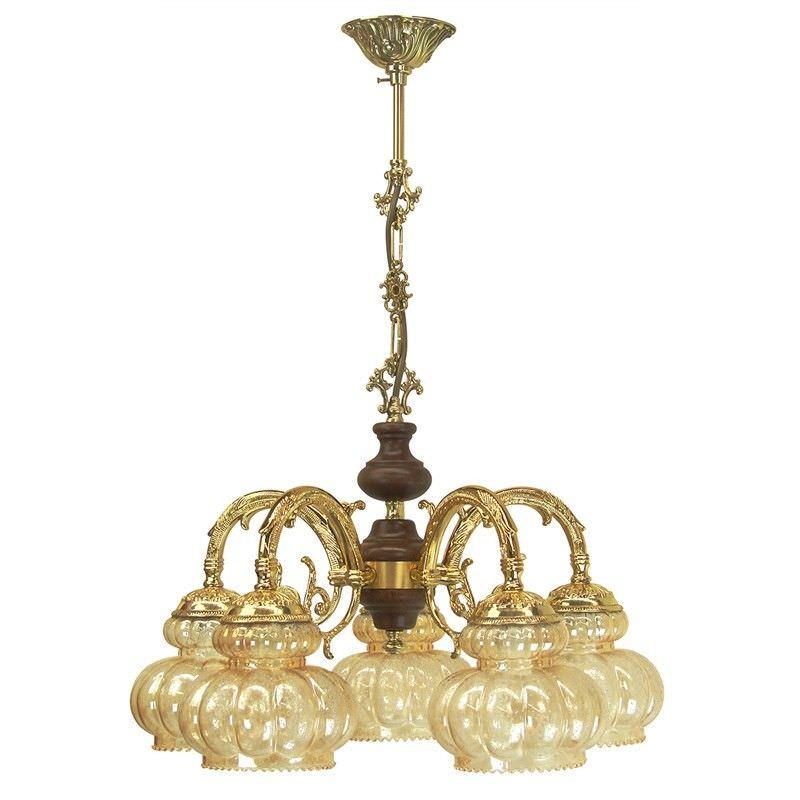 Leszno European Amber Glass 5 Light  Chandeliers