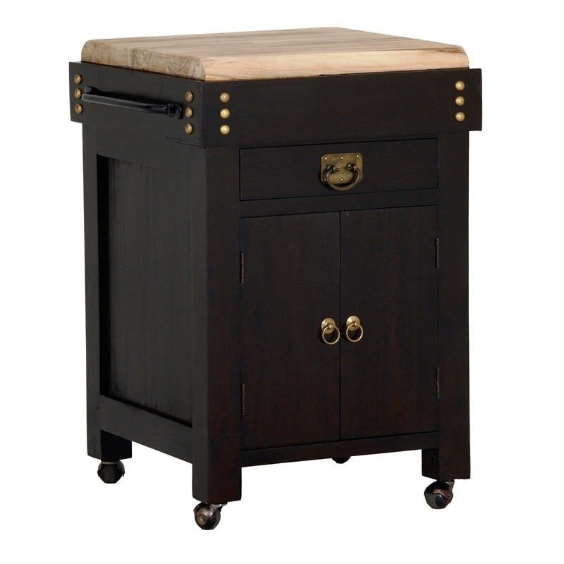 Cucina Solid Mahogany Timber Small Butcher Block Kitchen Island with Castors - Chocolate