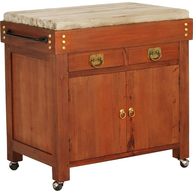 Cucina Solid Mahogany Timber Large Butcher Block Kitchen Island with Castors - Light Pecan