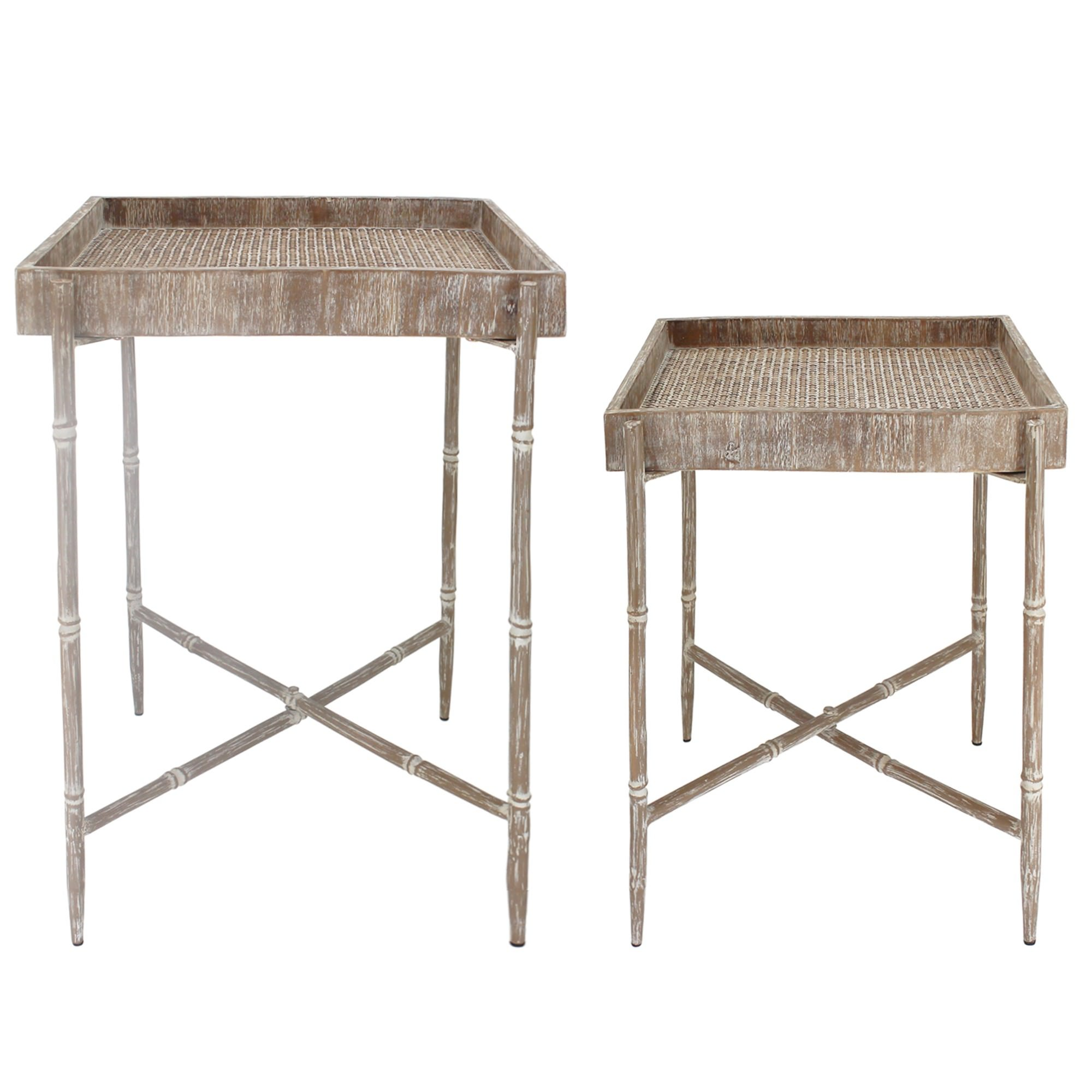 Leanna 2 Piece Wooden Tray Top Side Table Set