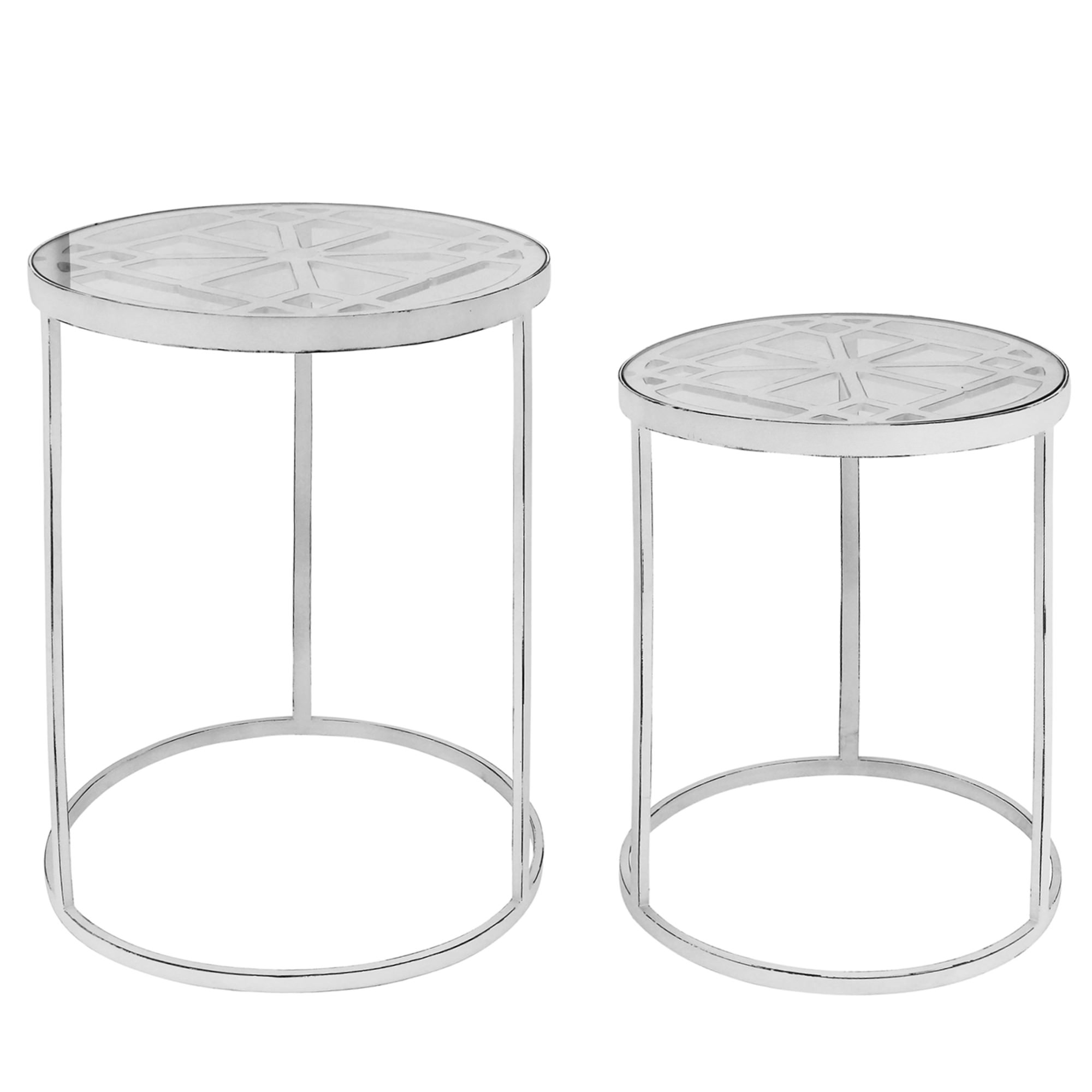 Ada 2 Piece Glass Topped Metal Round Nesting Table Set
