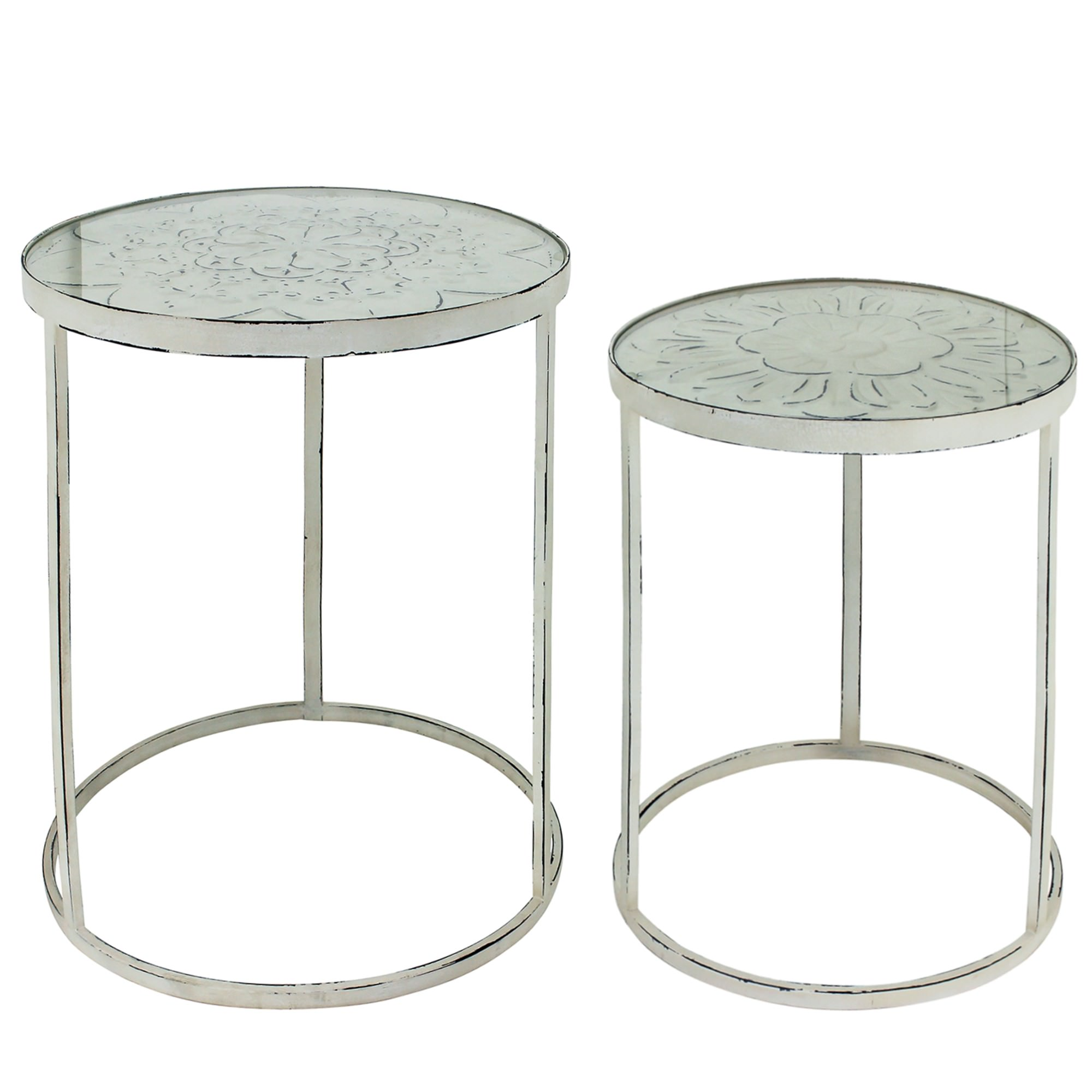 Nora 2 Piece Glass Topped Metal Round Nesting Table Set