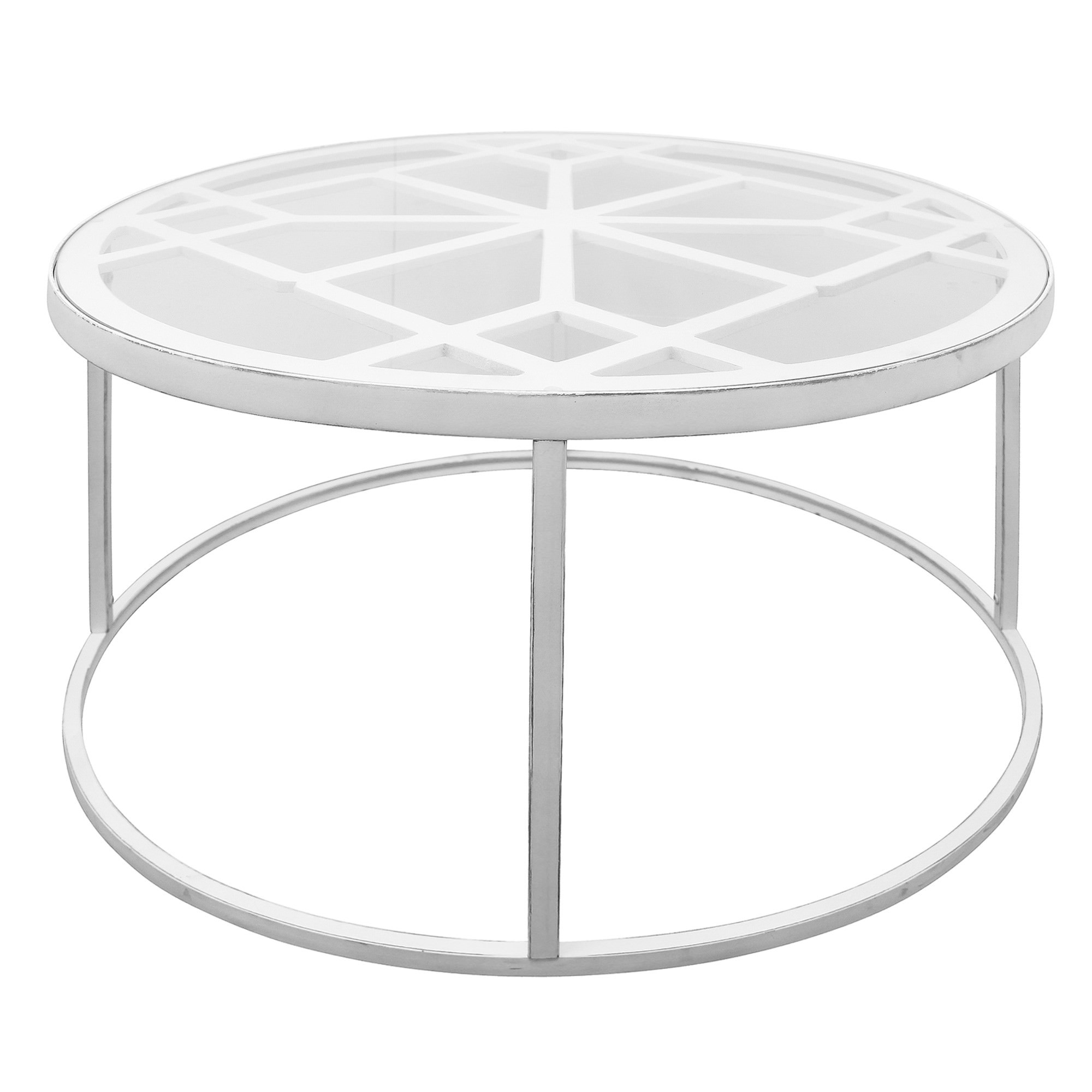 Ada Glass Topped Metal Round Coffee Table, 90cm