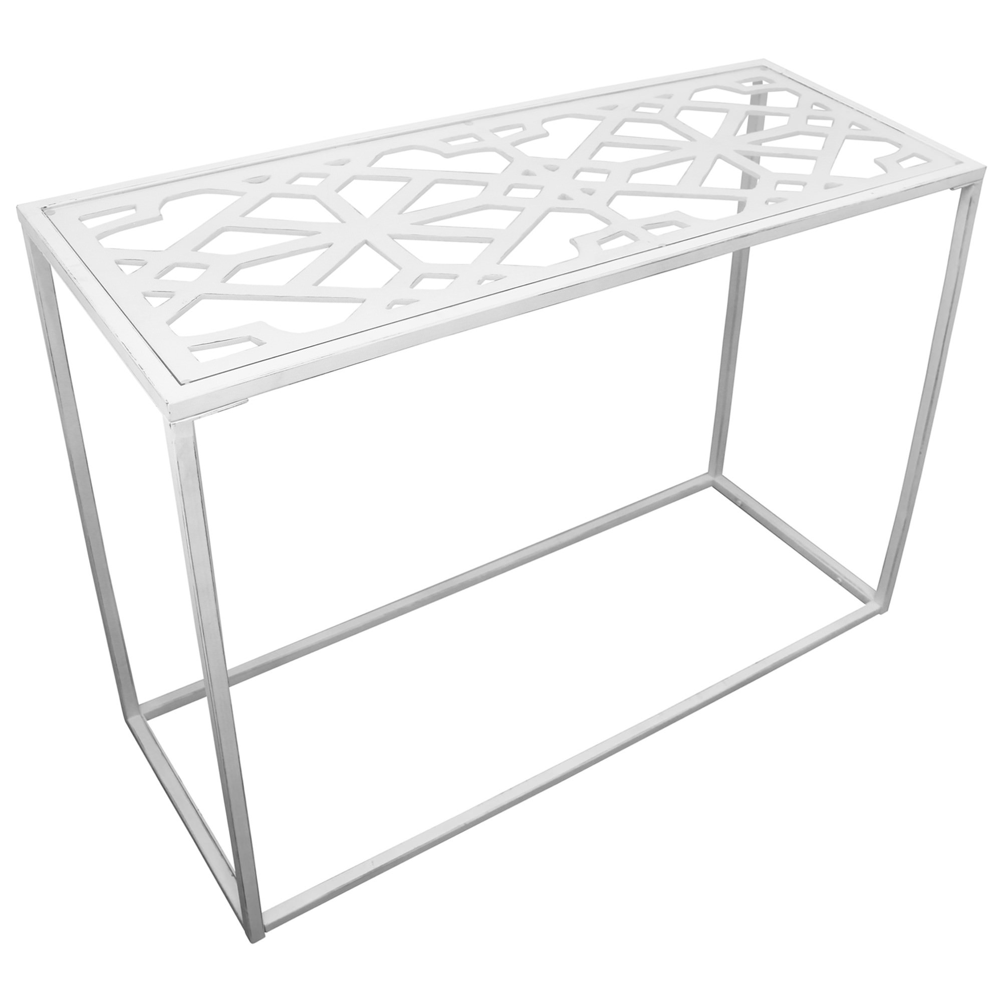 Ada Glass Topped Metal Console Table, 110cm
