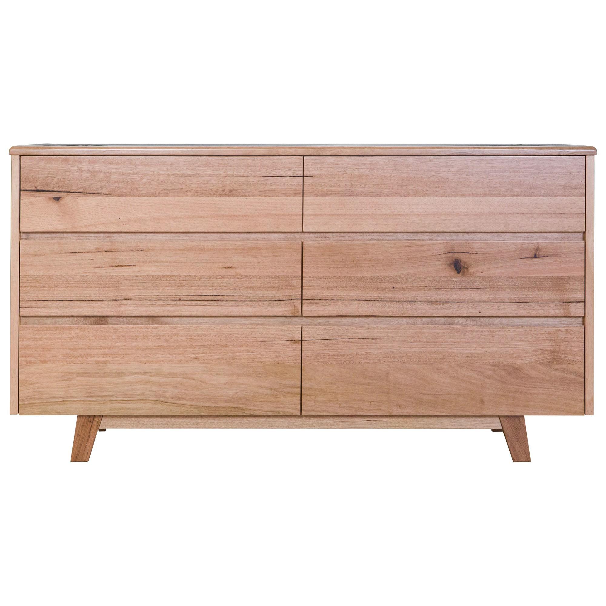 Wade Tasmanian Oak Timber 6 Drawer Dresser
