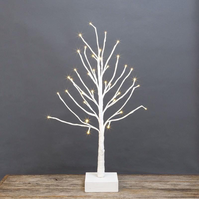 Hollis Twig Tabletop LED Light Up Tree, 60cm, White