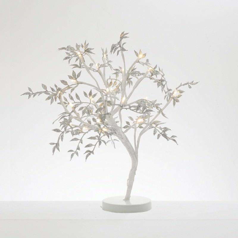 Melvin LED Glitter Leaf Tree, 45cm, Silver / White
