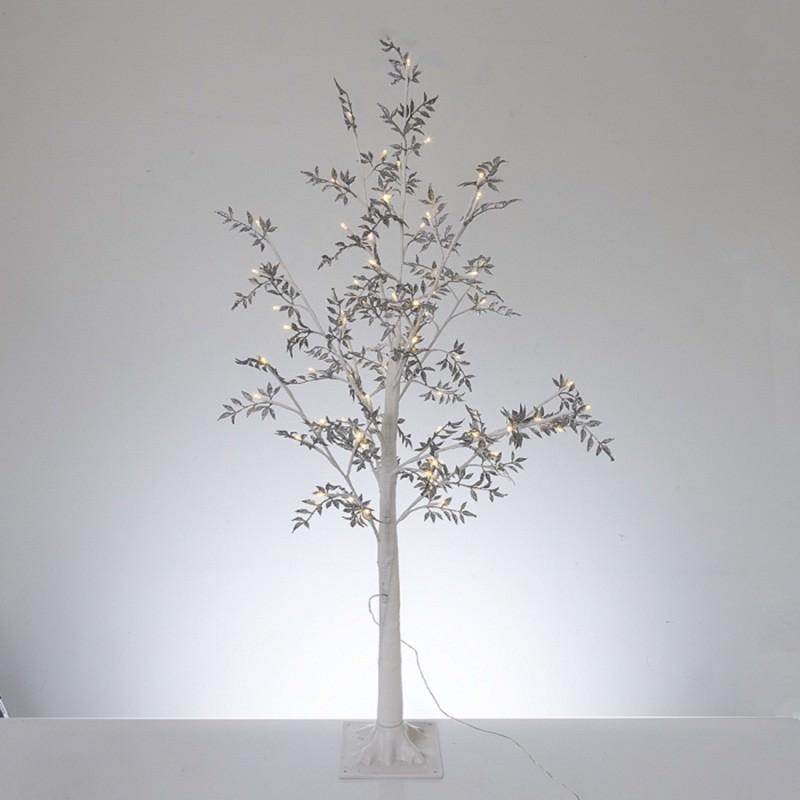 Melvin LED Glitter Leaf Tree, 120cm, Silver / White
