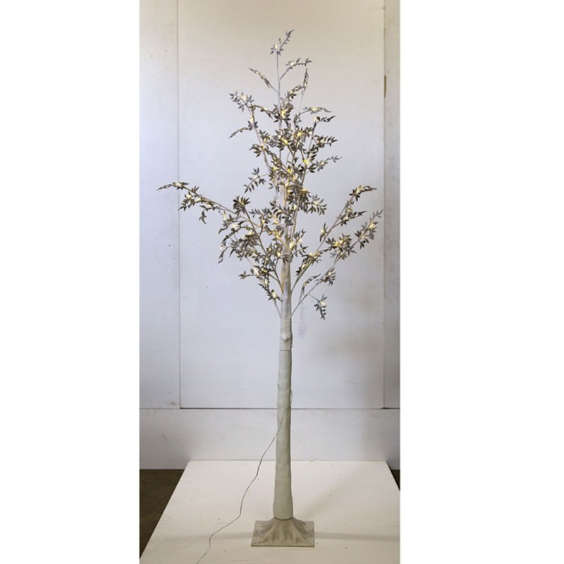Melvin LED Glitter Leaf Tree, 180cm, Silver / White