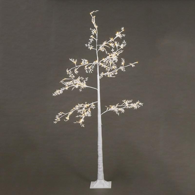 Melvin LED Glitter Leaf Tree, 180cm, White