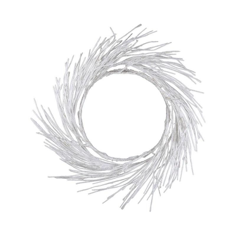Anastazja LED Light Up Wreath, 60cm, Glitter White