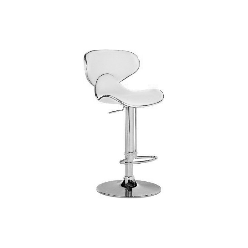 Indy White Barstool Pu Swivel Seat Chrome Frame Gas Lift