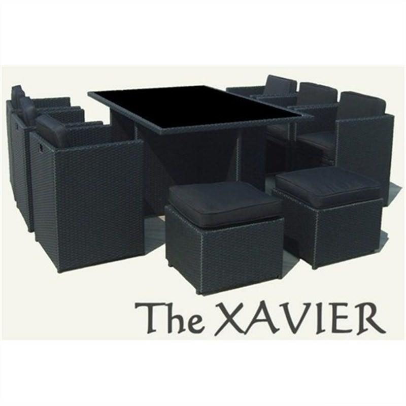 XAVIER 10 Seater Wicker Dining Setting Dark Brown UV Treated Weather Proff
