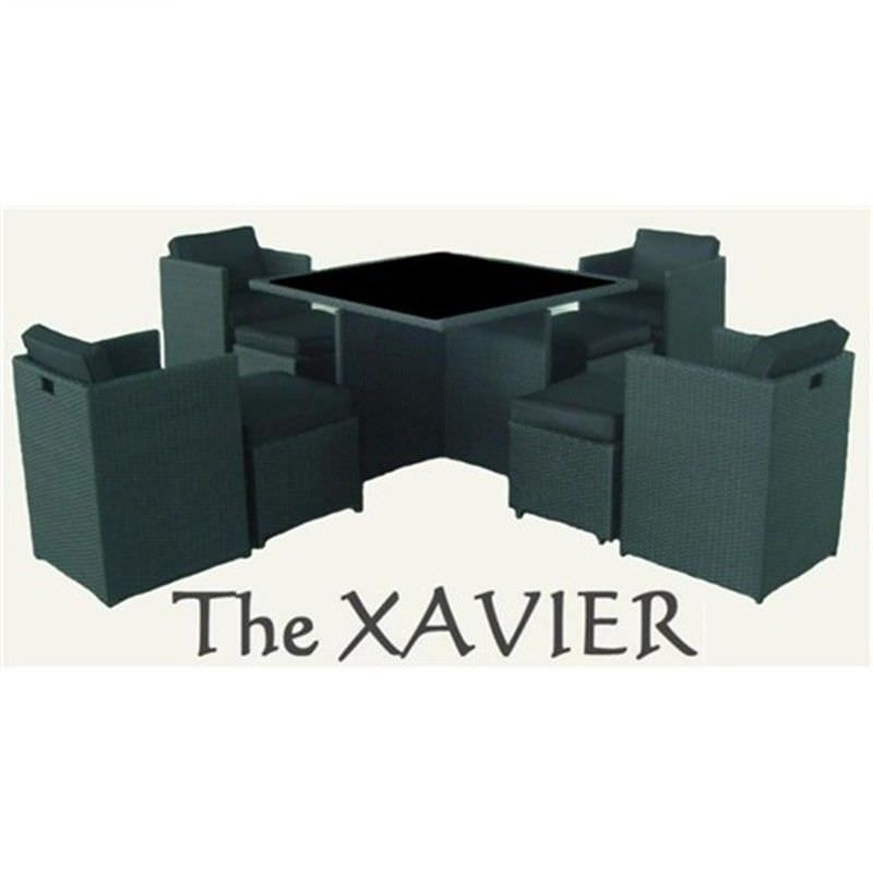 XAVIER 9 Seater Wicker Dining Setting Black UV Treated Weather Proff