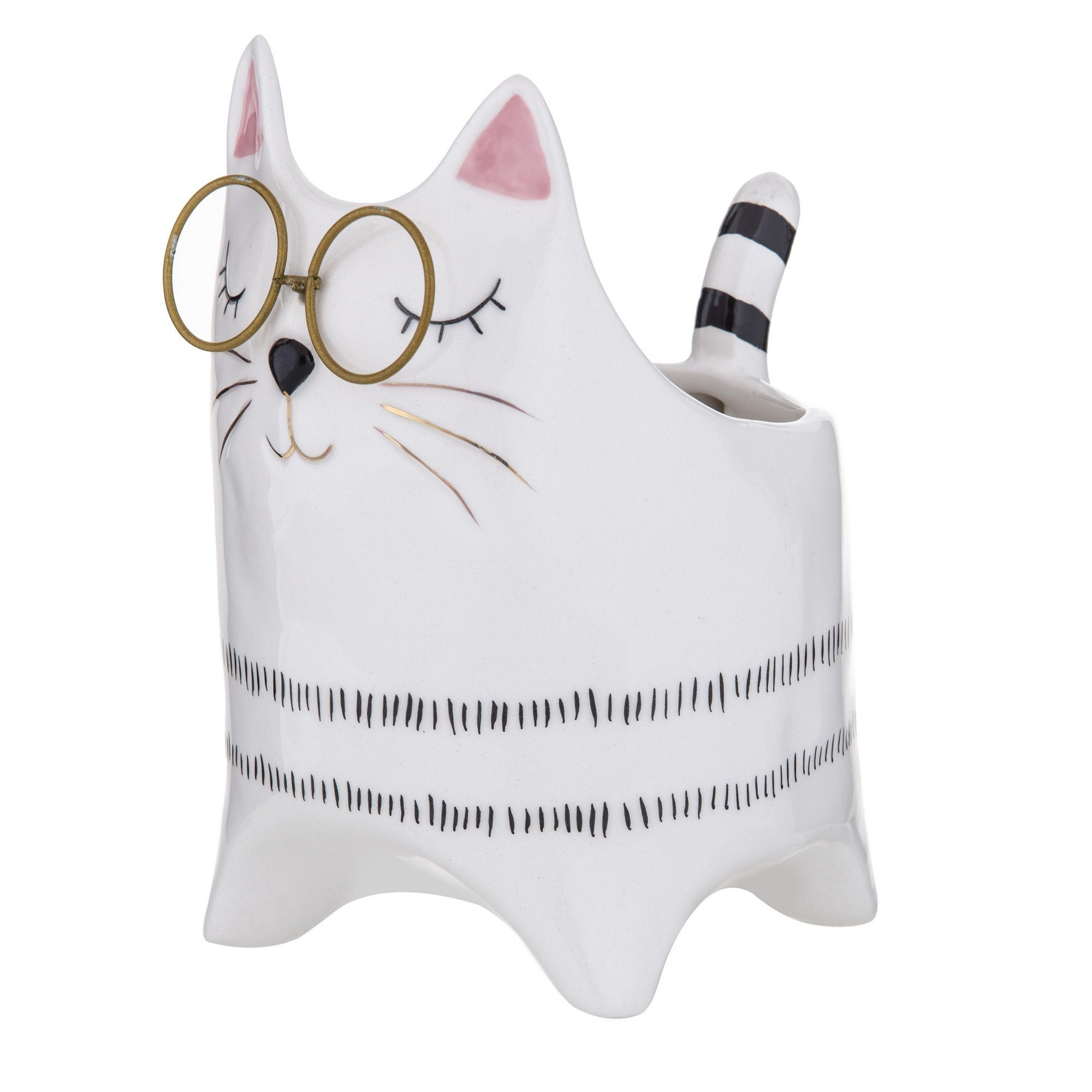 Pudd Dolomite Cat Planter Pot, Mrs. Pudd