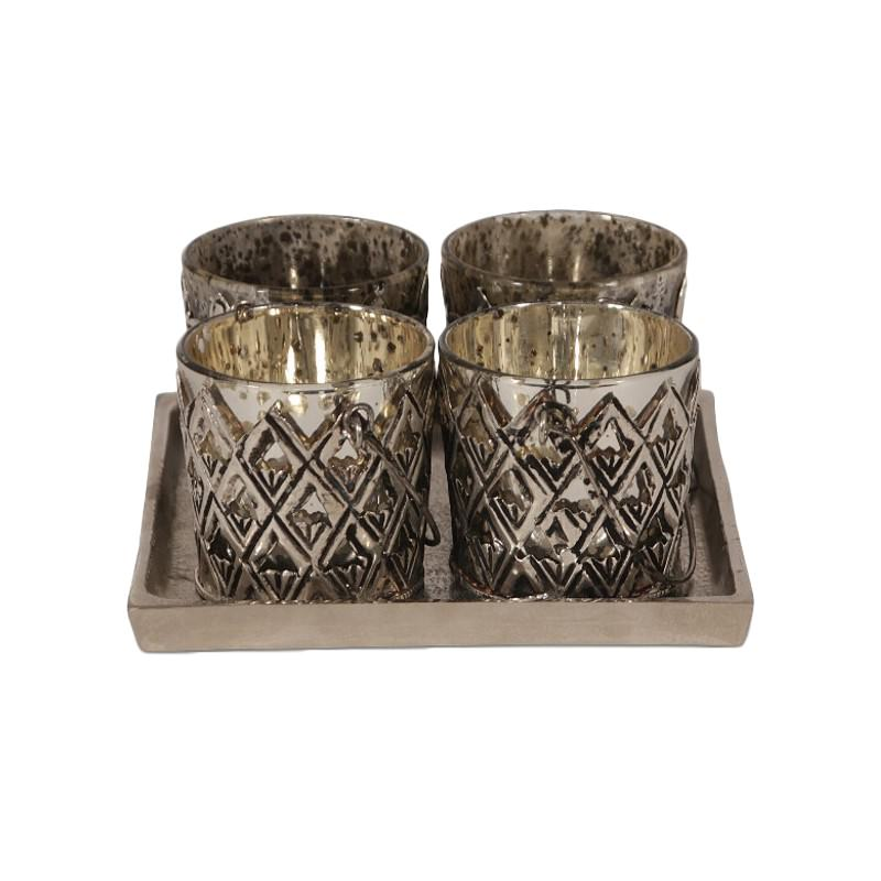 Raheel 4 Piece Glass Votive Set with Metal Tray