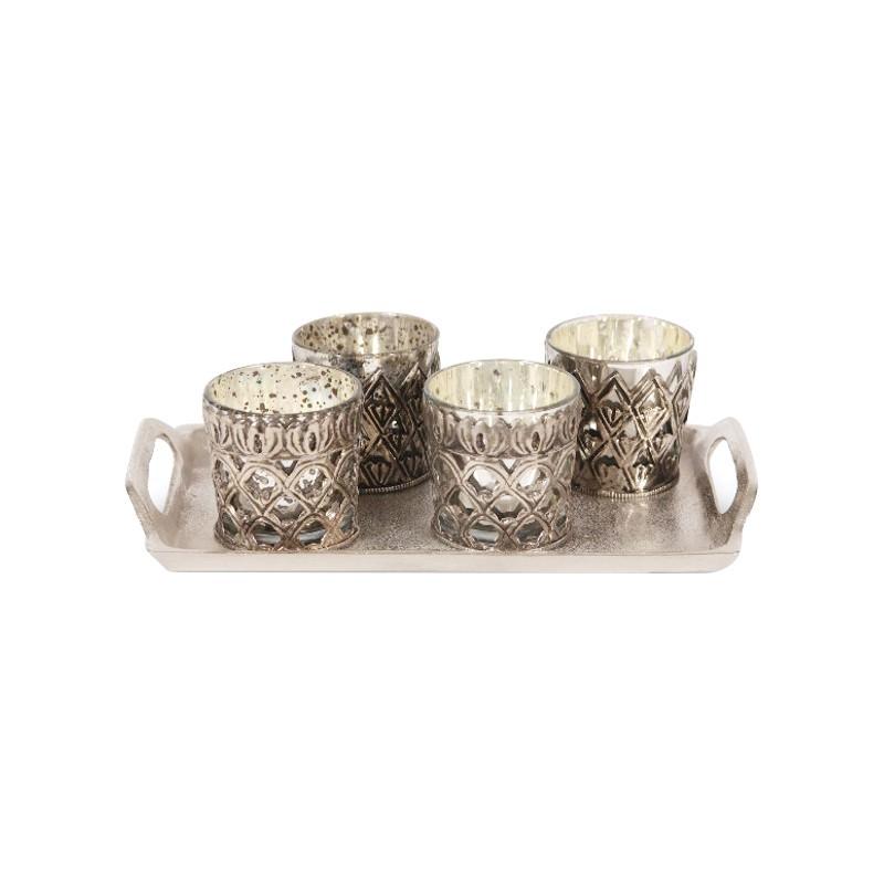 Duarte 4 Piece Glass Votive Set with Metal Tray