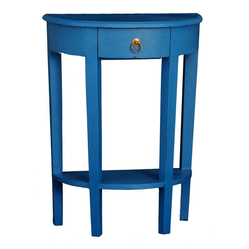 Solid Timber Half Round Sofa Table in Galaxy Blue - 80cm