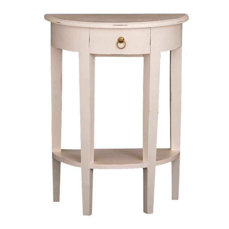 Solid Timber Half Round Sofa Table in Rose White - 80cm
