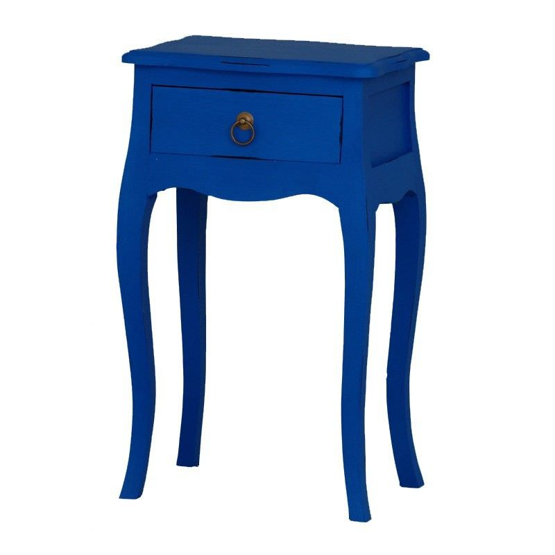 1 Drawer Solid Timber Lamp Table, Galaxy Blue