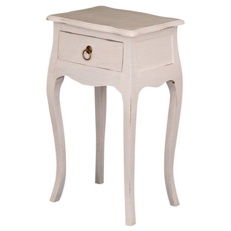 Solid Mahogany & Teak Timber Single Drawer Lamp Table, Rose White