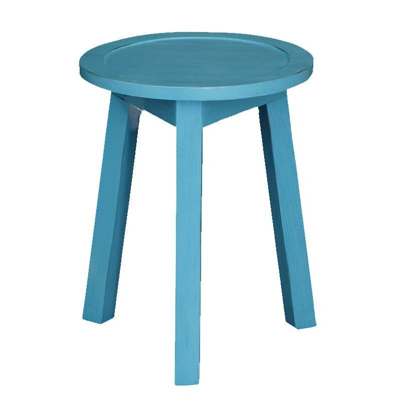 Solid Timber Round Lamp Table, Atlantic Blue
