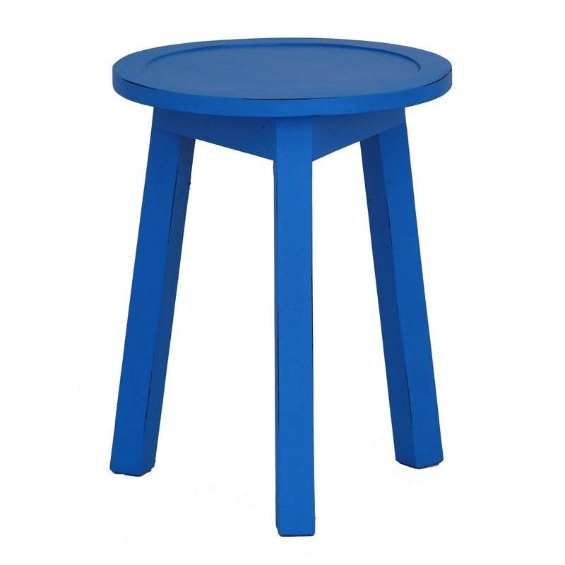 Solid Timber Round Lamp Table, Galaxy Blue
