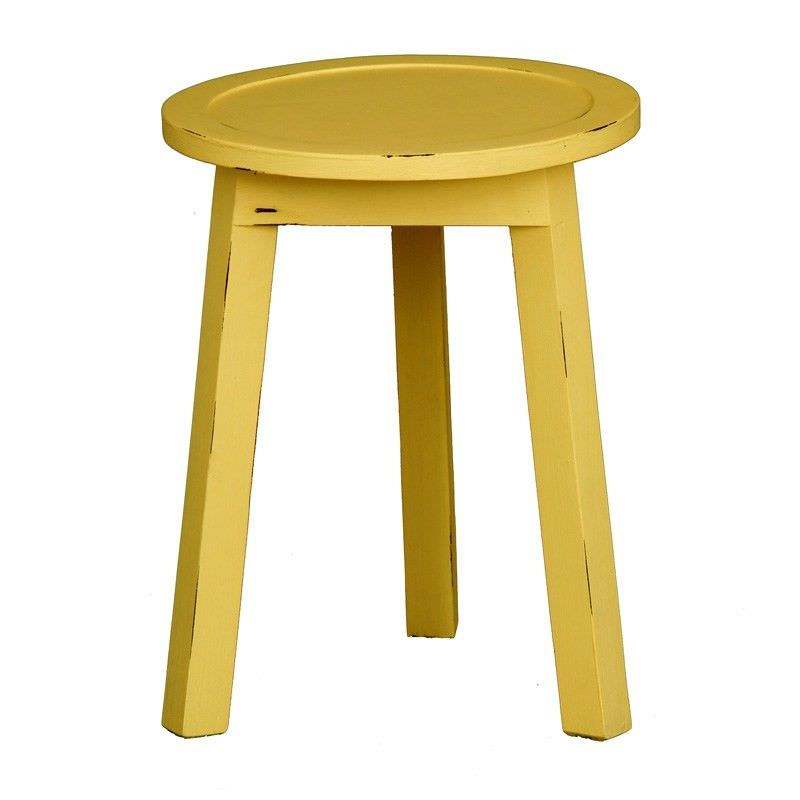 Solid Timber Round Lamp Table, Olympic Yellow