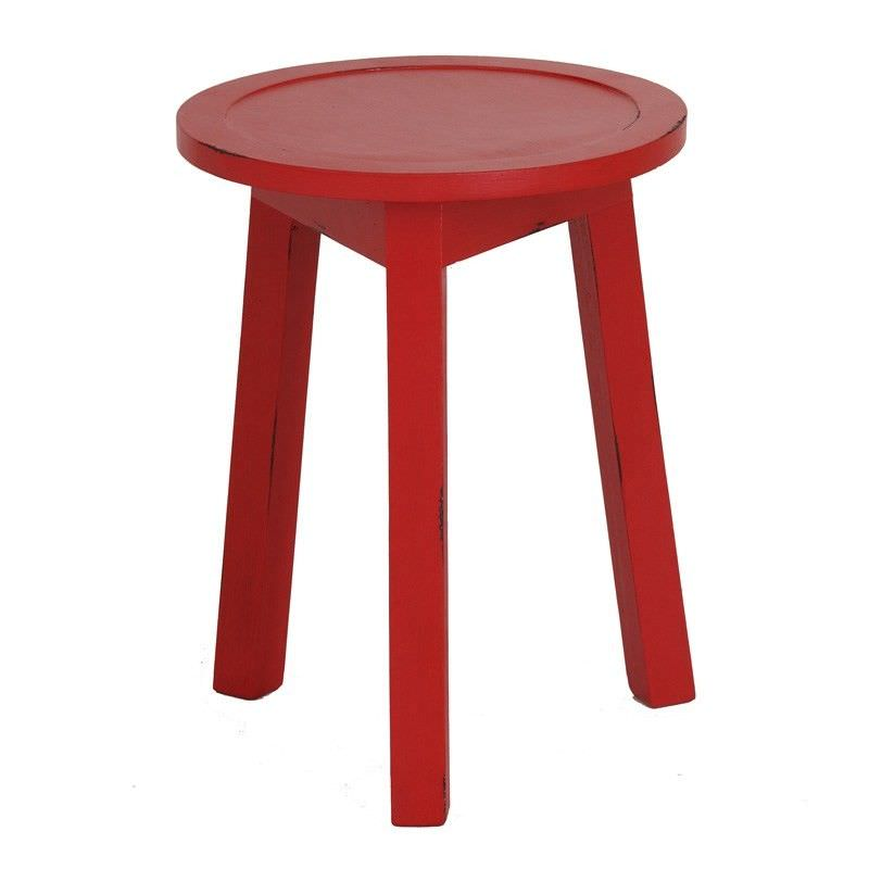 Solid Timber Round Lamp Table, Red