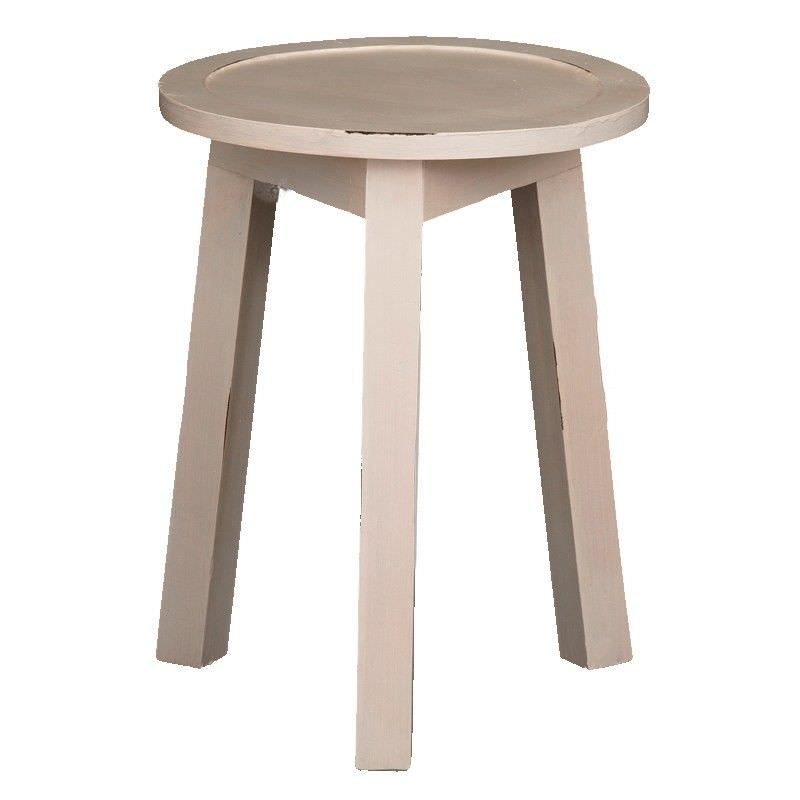 Solid Timber Round Lamp Table, Rose White
