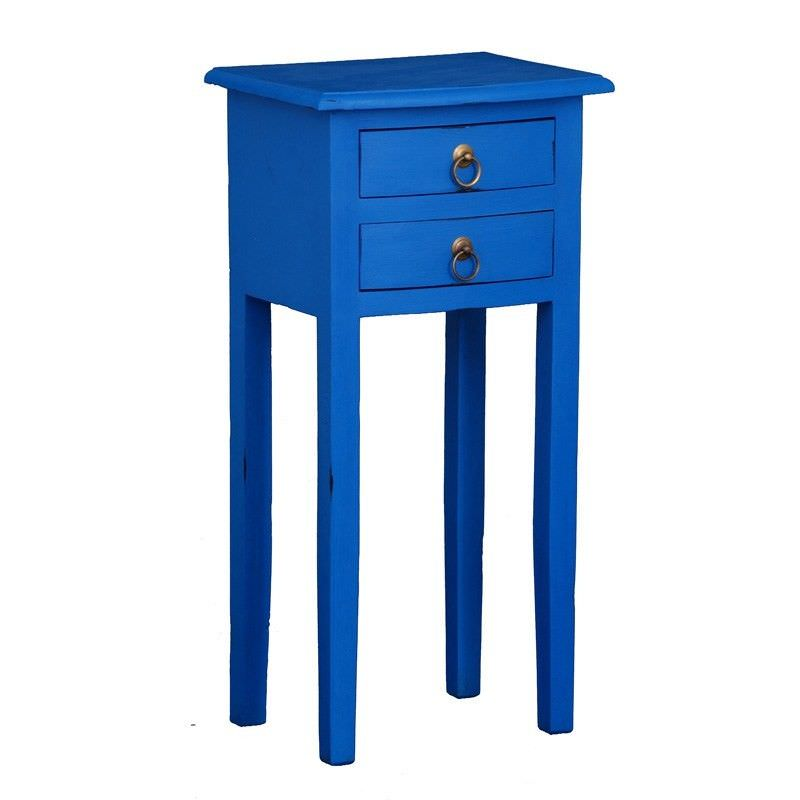 2 Drawer Solid Mahogany Timber Lamp Table, Galaxy Blue
