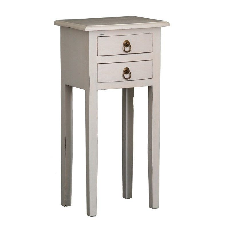 Solid Mahogany Timber 2 Drawer Lamp Table, Rose White