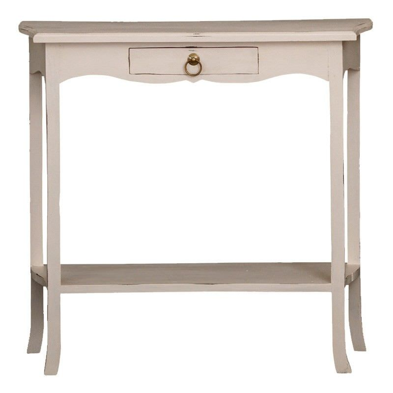1 Drawer Small Solid Timber Sofa Table in Rose White - 80cm