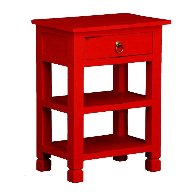 Solid Mahogany Timber Single Drawer Lamp Table with 2 Shelves, Red