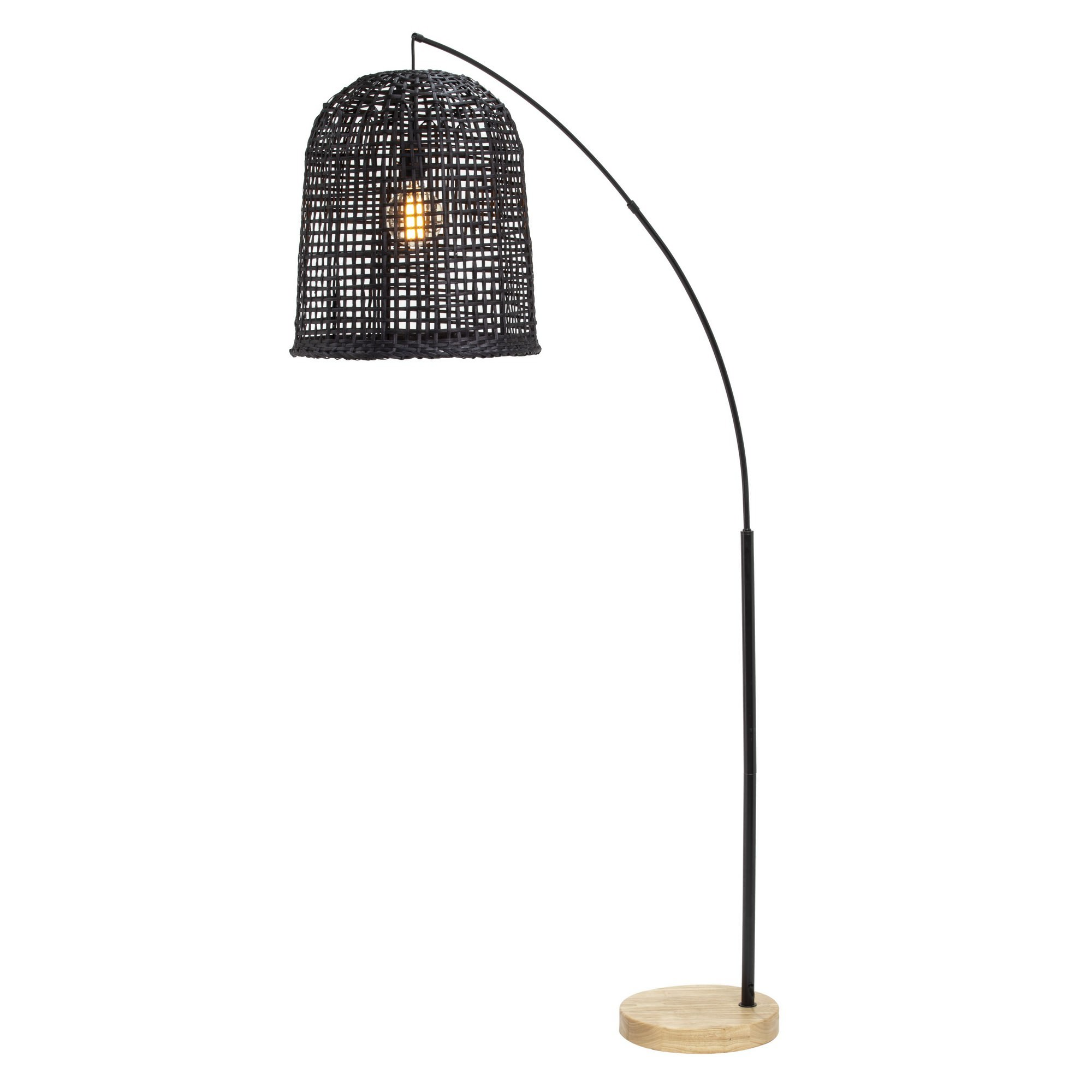 Image of: Weave Rattan Shade Arc Floor Lamp