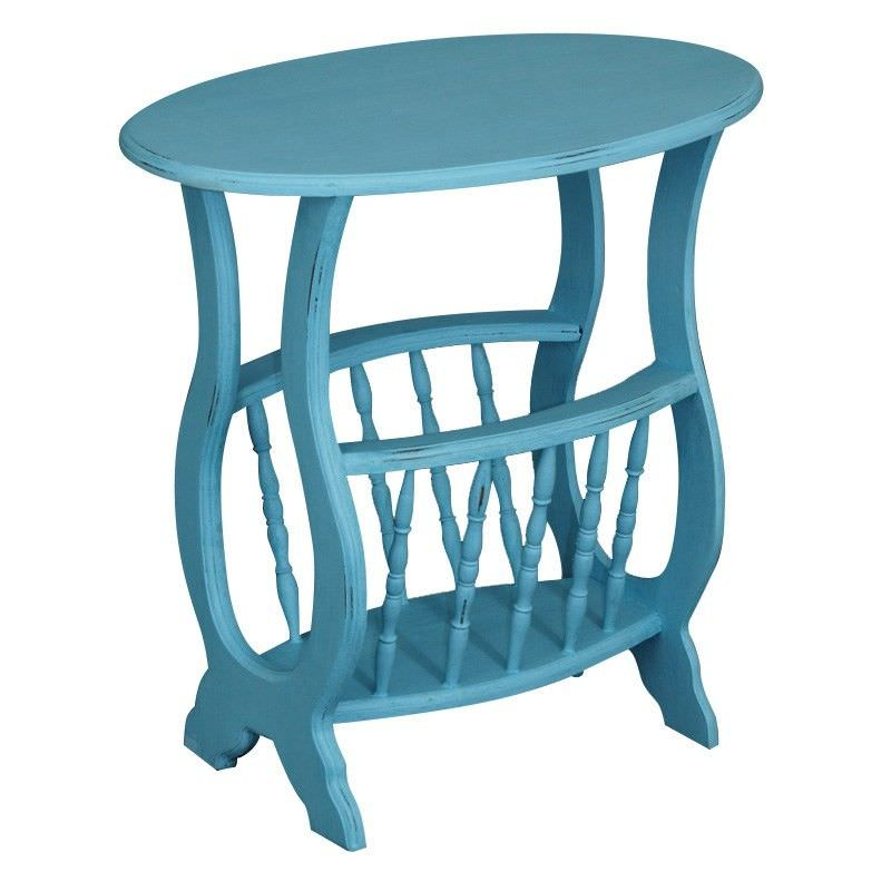 Solid Hardwood Timber Side Table with Magazine Rack, Atlantic Blue