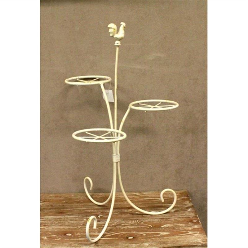Antique Cream Metal Standing Holder with Rooster Decoration
