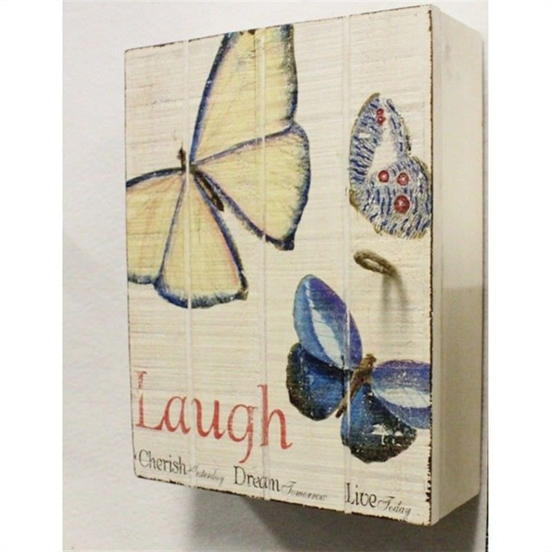 Shabby Chic Wood Wall Hanging Key Box Cream Colour with Butterfly Image