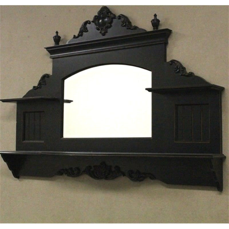 French Shabby Chic Black Wood Wall Shelf with Mirror