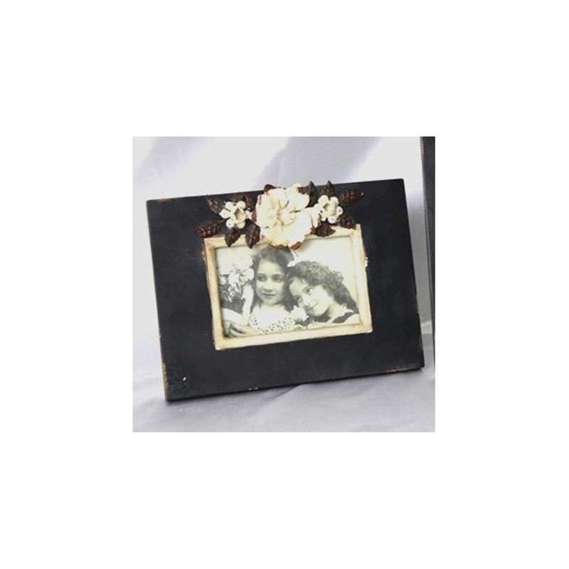 Black Wood Photo Frame with Floral Decoration
