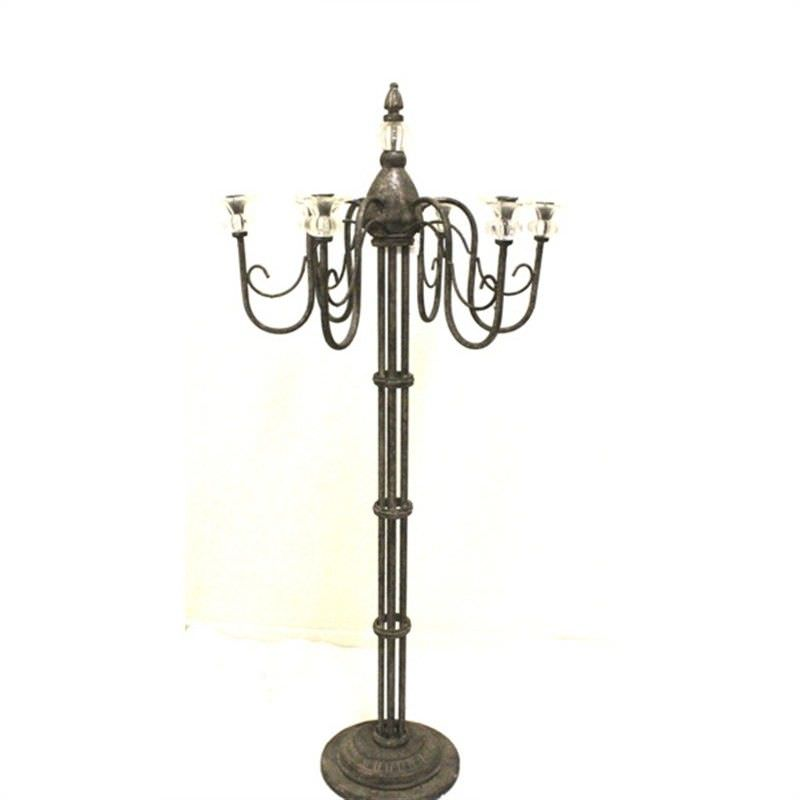 French Grey Metal Standing Candle Holder with Glasses