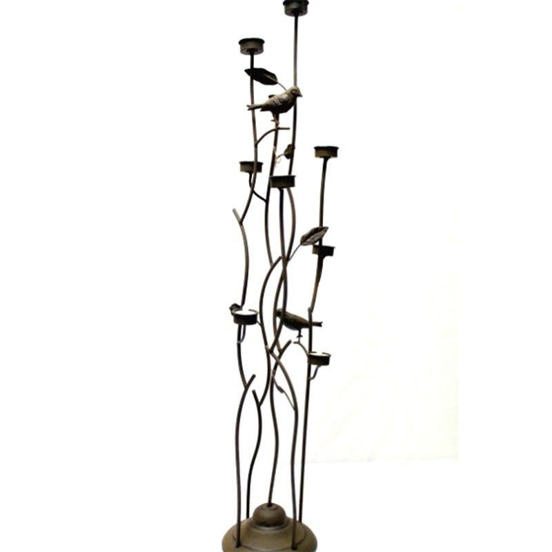 Brown Metal Standing T-Light Candle Holder