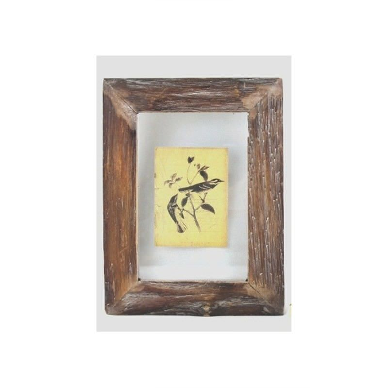 Wall Glass Plaque with Wood Frame and Bird Picture