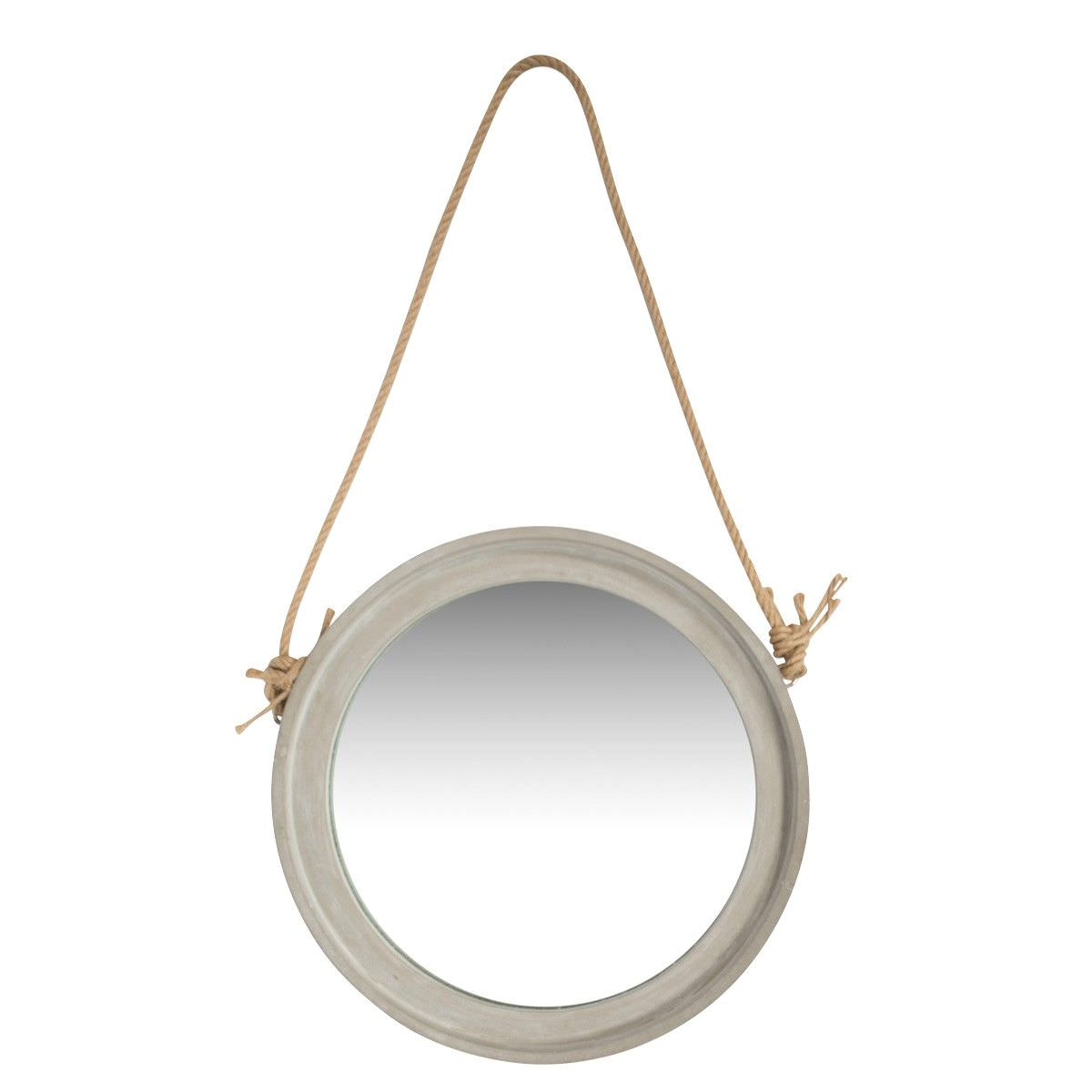 Kona Concrete Frame Round Hanging Mirror, Small, Raw Cement