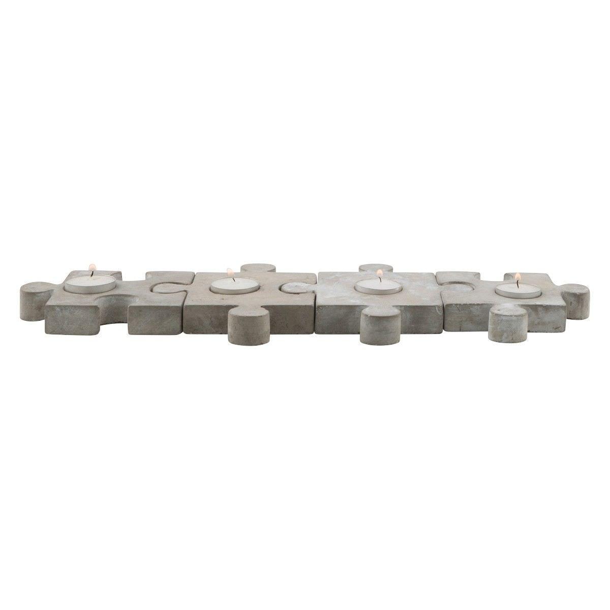 Kona 4 Piece Concrete Puzzle Tealight Holder Set, Raw Cement